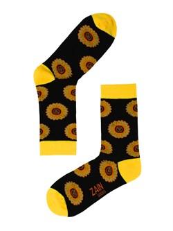 Носки Подсолнухи ZAIN 062 Чёрные - фото 5799